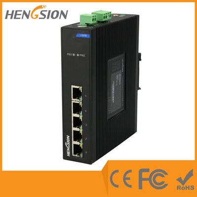 Din Rail 5 Port Industrial Network Switch Dual Power Supply Ethernet Switch