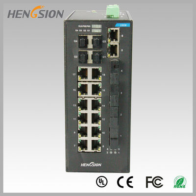 Fast 28 Port Switch , Fanless Gigabit Switch 14 electric port + 4 FX +4 Gigabit SFP FX Fiber optical